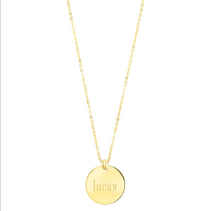 Polished 14K Gold disc on delicate adjustable sparkly link chain:  ENGRAVABLE
