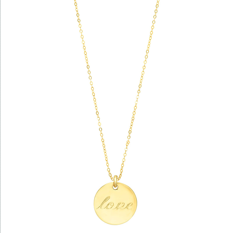 Polished disc on sparkly adjustable link chain:  ENGRAVABLE