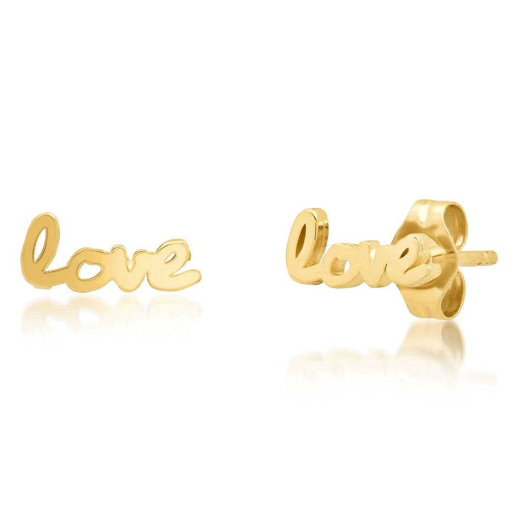 "Signature 14K Gold ""Use your Words"" Love Studs"