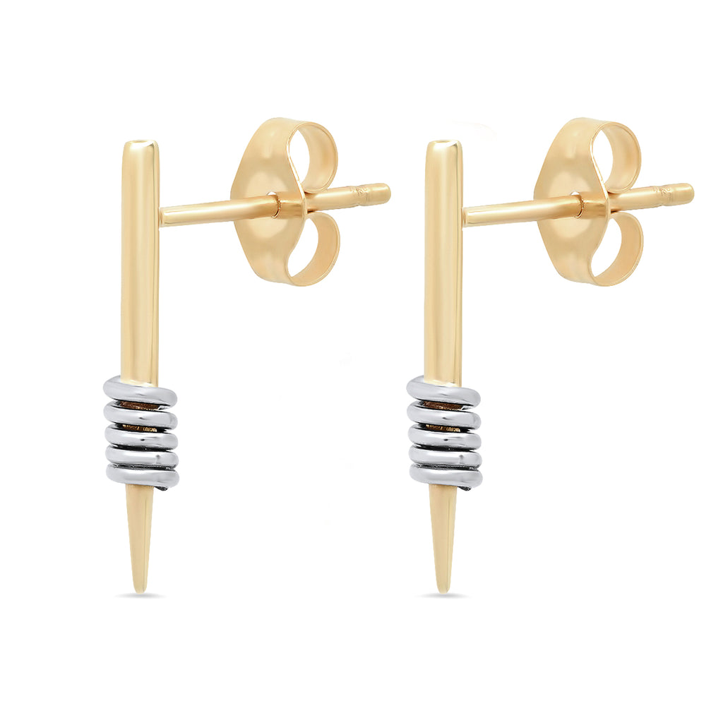 """Wrap Me Up"" 14K Gold Dagger Stud Earrings"