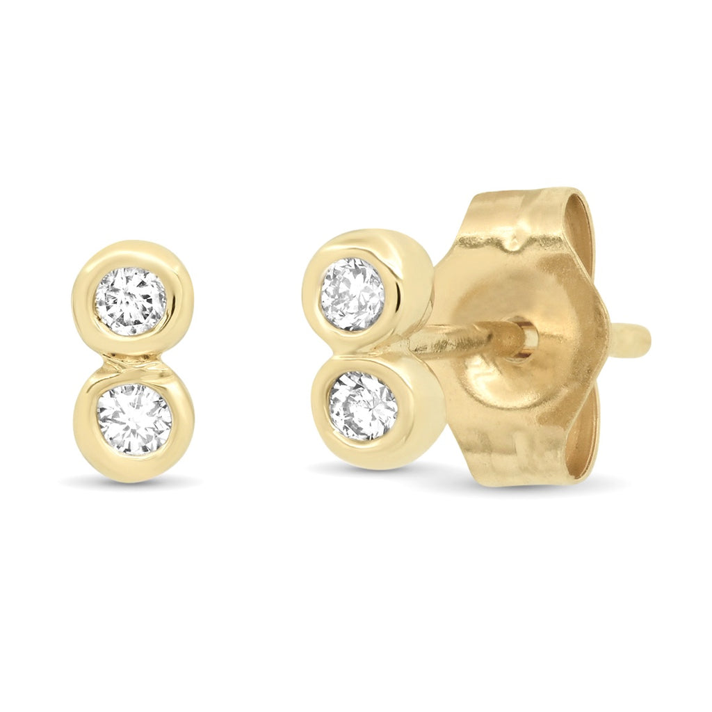 14K Yellow or Rose Gold Petite Double Bezel Diamond Stud Earrings