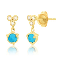 """Claw"" Bezel Drop 14k Gold and Diamond Stud Earring with Gemstone or Pearl"