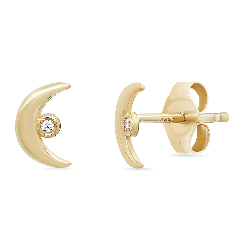 """Celestial"" 14K Gold Tiny Moon Diamond Stud Earrings with Diamonds"