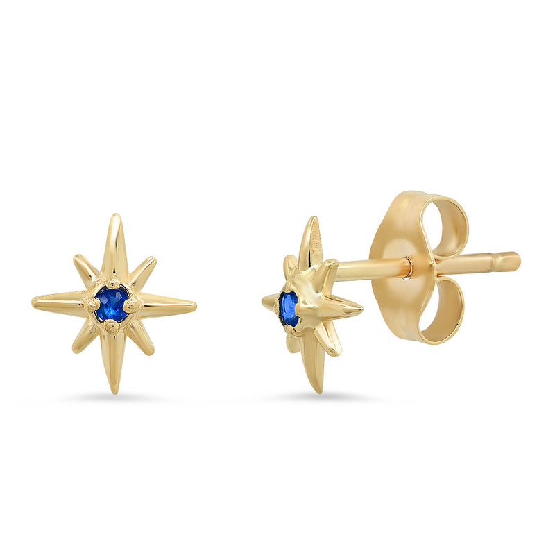 Celestial Tiny North Star Stud Earrings with Diamonds, Rubies, Sapphires