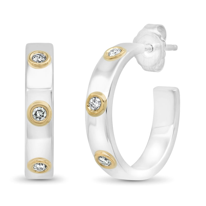 """Liquid Metal"" Sterling Silver Hoops with 14K gold Bezels and Diamonds"