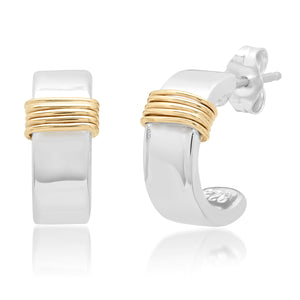 """Liquid Metal"" Sterling Huggies with 14K gold wraps"