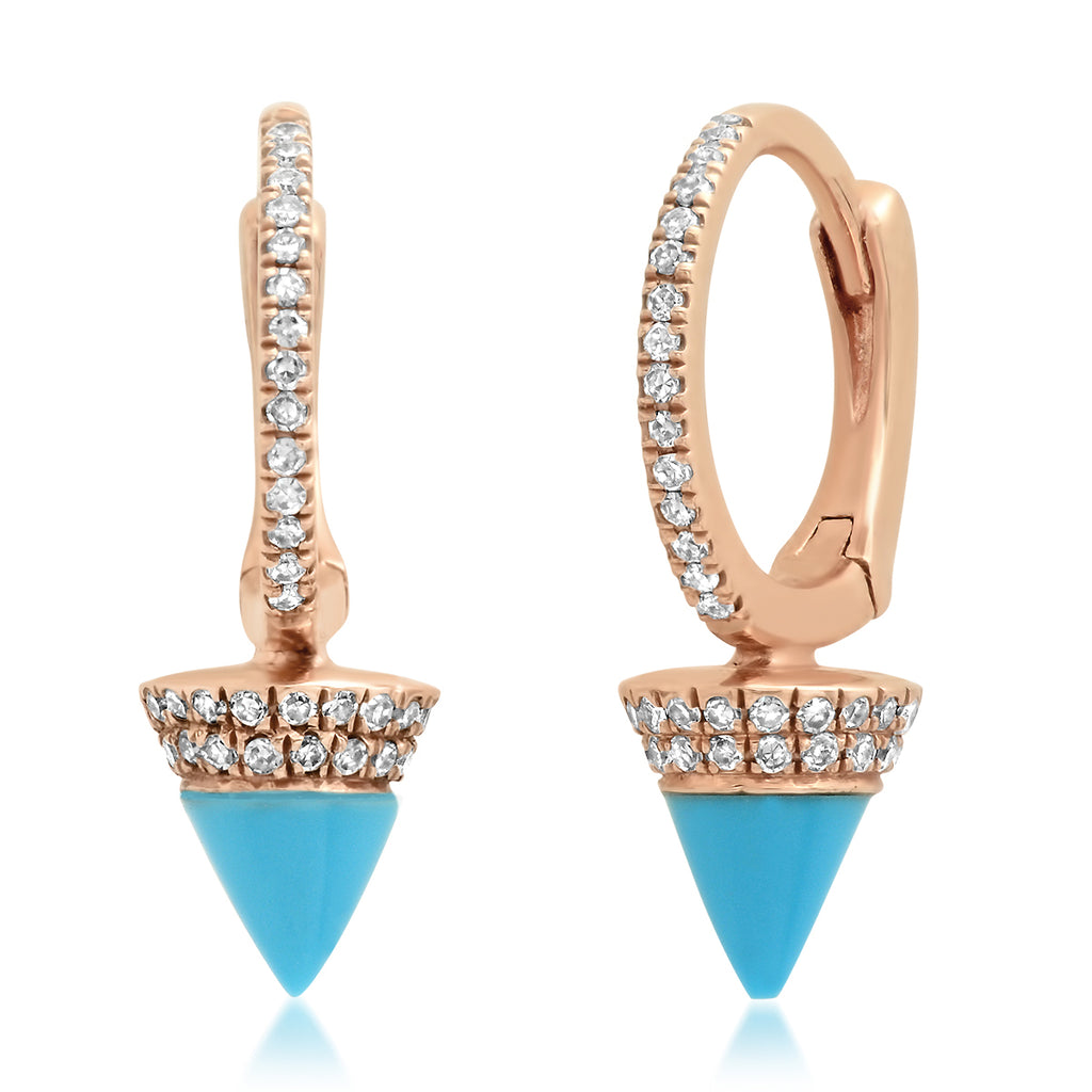 Pave Diamond 14K Rose Gold Huggies with Sleeping Beauty Turquoise Spikes