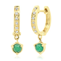 "Pave Diamond 14k Gold Huggie Hoop with ""Claw"" Emerald or Pearl Drops"