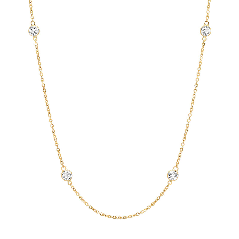 White Topaz 14K Gold Choker Necklace