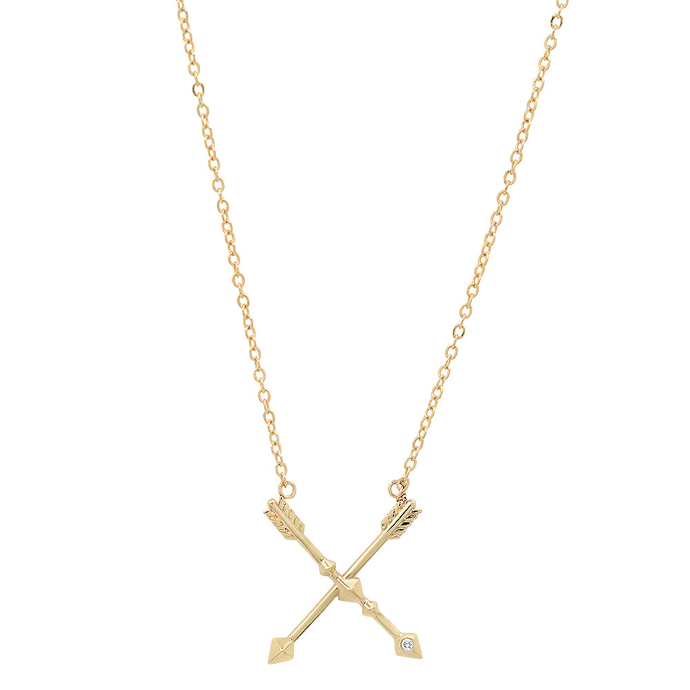 Signature 14K Gold Crossed Arrow with Diamond Friendship Necklace