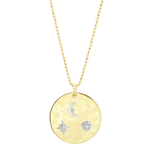 """Liquid Metal"" 14K Gold ""To the Moon and Back Medallion"" with Diamonds"