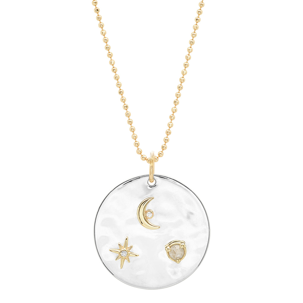 """Liquid Metal"" Sterling Silver and 14K Gold ""To the Moon and Back Medallion"" with Diamonds"