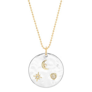 """Liquid Metal"" Sterling ""To the Moon and Back Medallion"" with Diamonds"