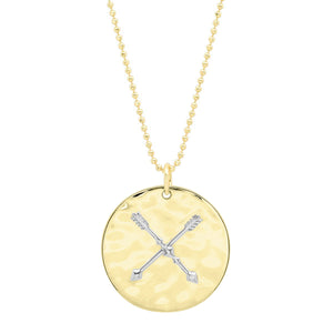 """Liquid Metal"" 14K Gold Crossed Arrows Friendship Medallion with Diamond"