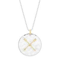 """Liquid Metal"" Sterling Silver and 14K Gold Crossed Arrows Friendship Medallion with Diamond"