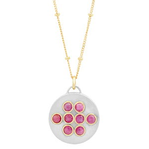 "Sterling Silver Round ""Love Locket"" with Ethiopian Opals or Rubies"