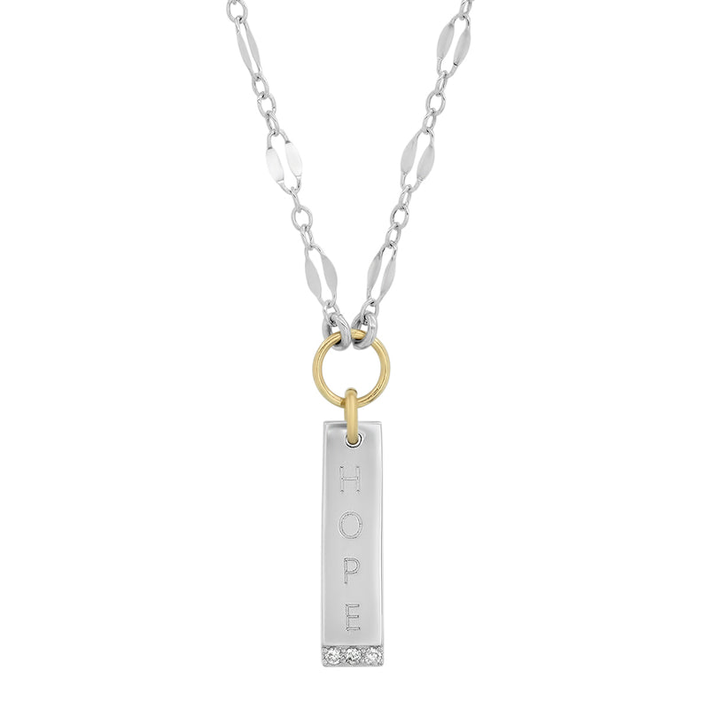 "Sterling Silver/14K Gold ""Hope"" Vertical Bar Necklace with Diamonds for SAVING INNOCENCE"