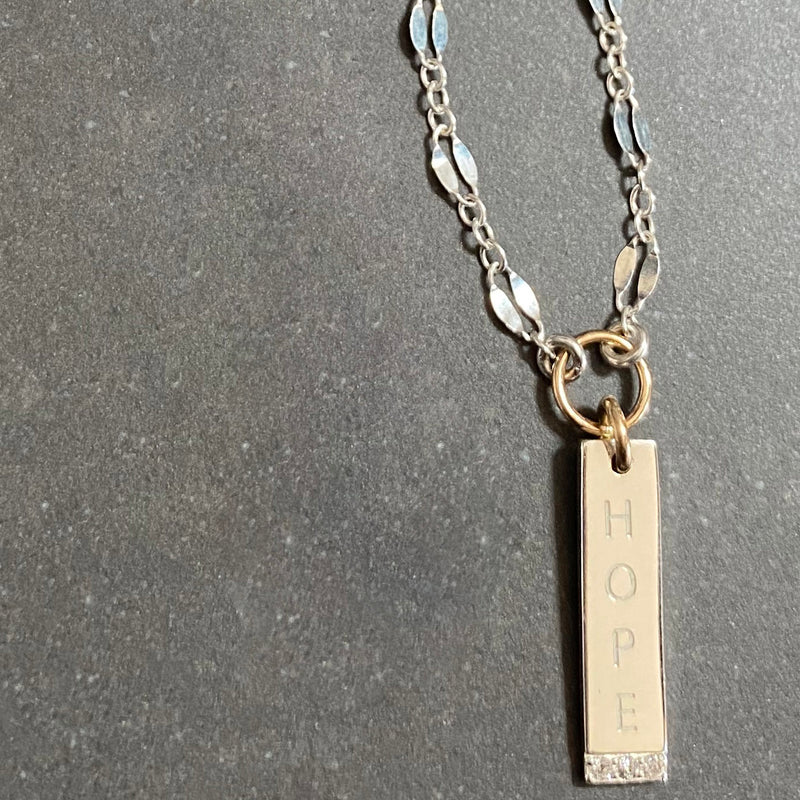 Sterling Silver Engravable Vertical Bar Necklace with 14K Gold Rings and Diamonds