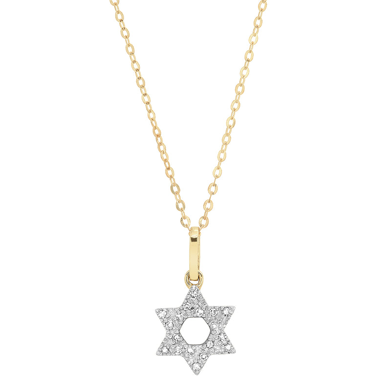 Pave Diamond 14K Gold Jewish Star Necklace