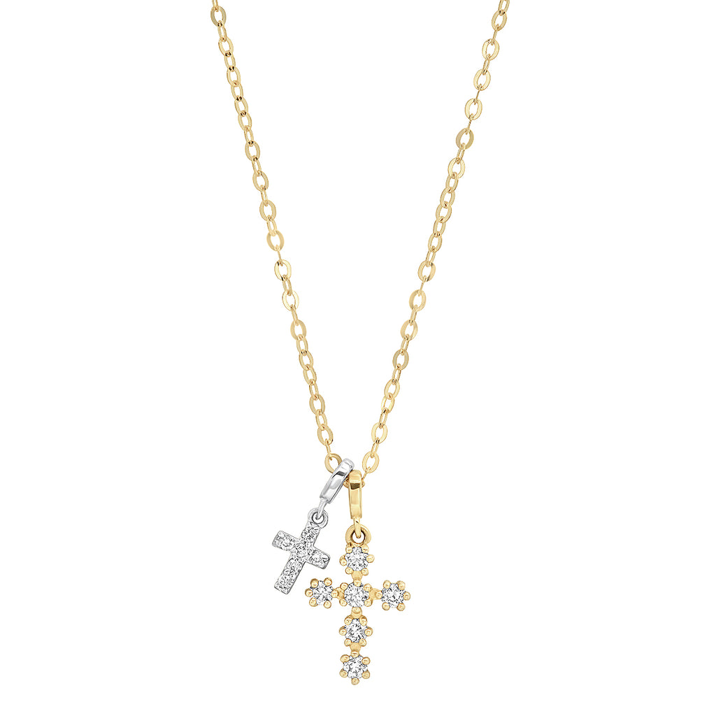 Pave Diamond 14K Gold Double Cross Necklace