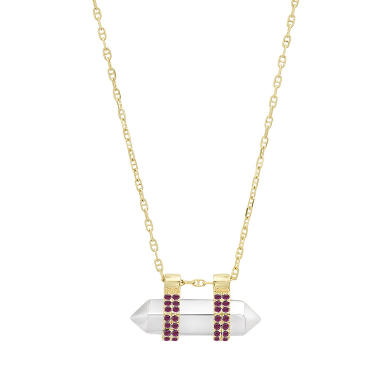 "14K Gold and Sterling Horizontal  ""Crystallized"" Metal pendant with Pave Diamonds, Rubies, or Sapphires"