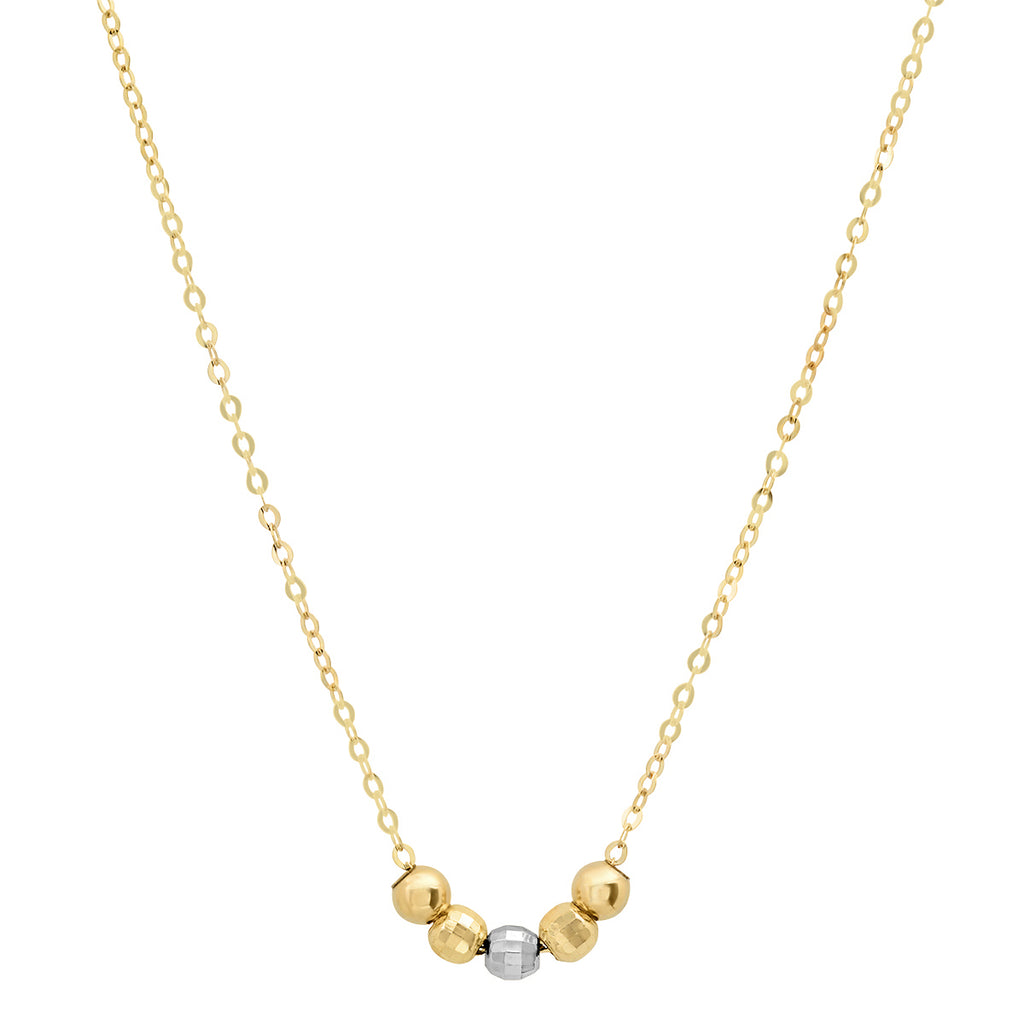 14K Yellow and White Gold 5 Bead Necklace