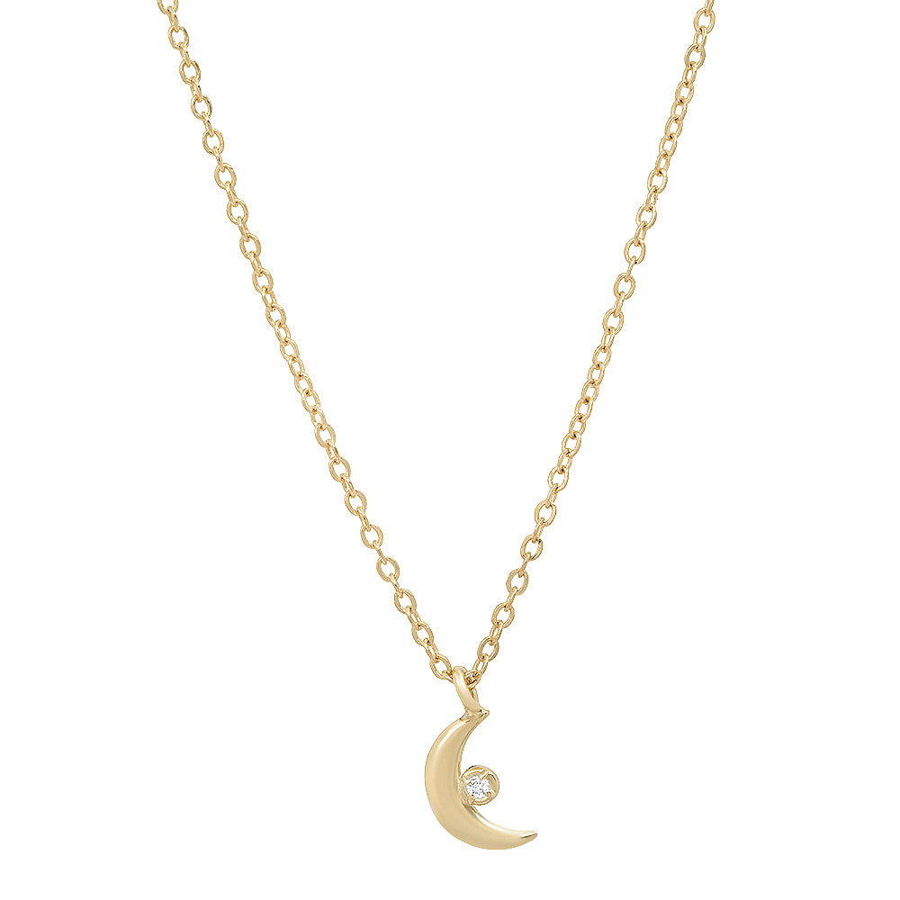 Celestial Tiny Moon Pendant with Diamond