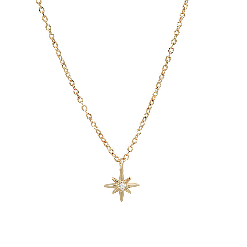 """Celestial"" 14K Gold Tiny North Star Pendant with Diamond, Ruby, Sapphire"