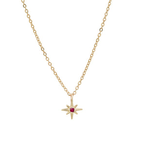 Celestial Tiny North Star Pendant with Diamond, Ruby, Sapphire