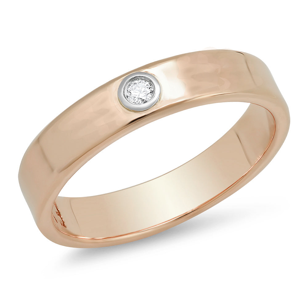 """Liquid Metal"" 14K Rose Gold narrow Hammered Band with Diamond (Size 7)"