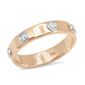 """Liquid Metal"" 14K ROSE Gold narrow Hammered Band with Seven Diamonds (Size 7)"