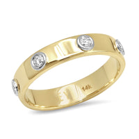 """Liquid Metal"" 14K Gold narrow Hammered Band with Seven Diamonds (Size 7)"