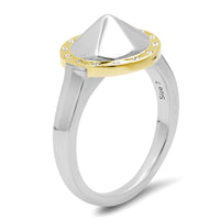 "14K + Sterling Silver Large ""Pyramid"" Ring with Diamonds (Size 7)"