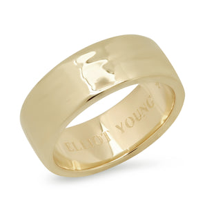 """Liquid Metal"" Wide Hammered Band 14K Gold"