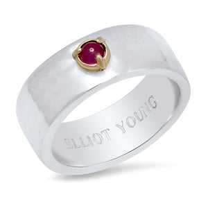 """Liquid Metal"" Sterling Silver Wide Hammered Band with Natural Rose Cut Diamond, Gemstone, or Pearl"