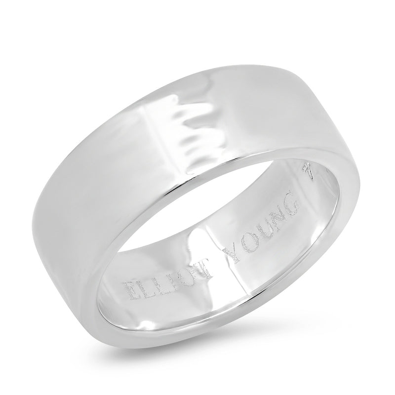 "Sterling Silver ""Liquid Metal"" Wide Hammered Band"