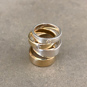 """Liquid Metal"" Wide Hammered Band Sterling"