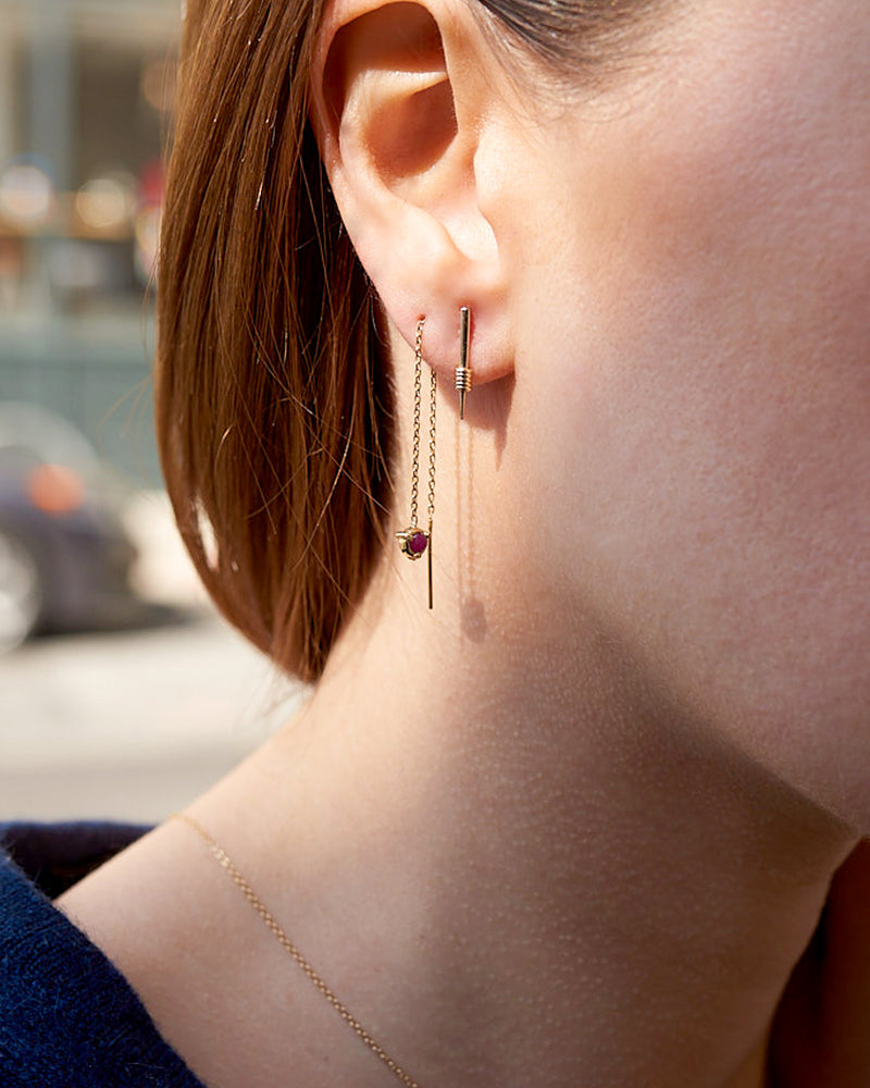 Claw Threader Stone Earrings