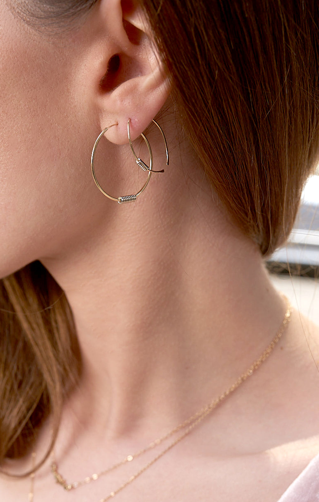 """Wrap Me Up"" 14K Gold Horseshoe Hammered wire Earrings"