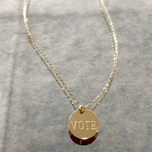 "14K Gold ""EXERCISE YOUR RIGHT TO VOTE"" Disc"