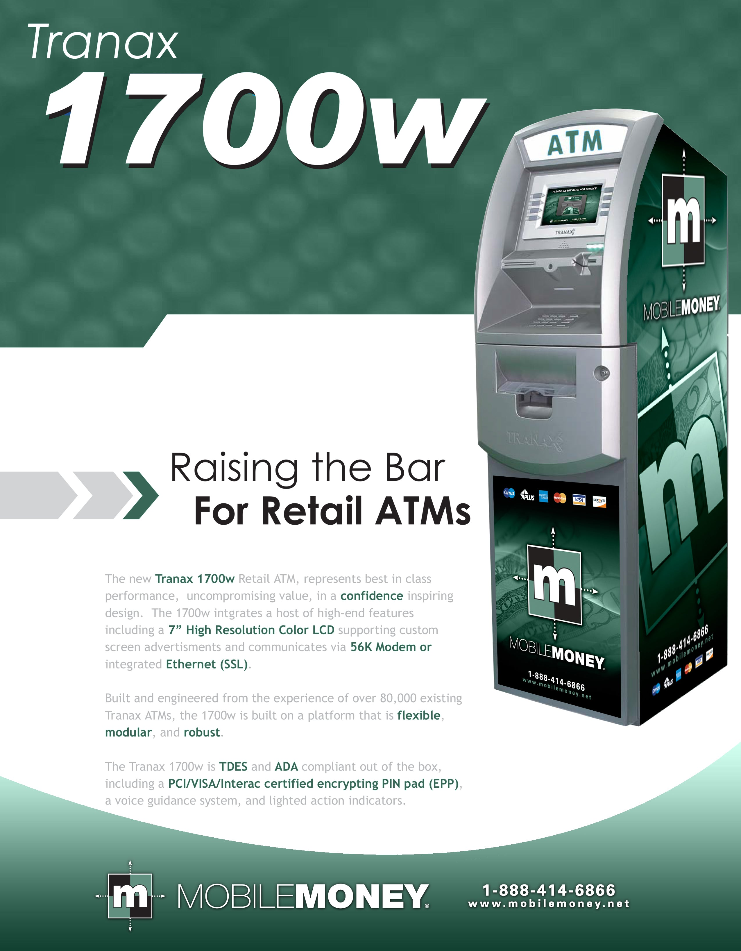Features Available For the Hantle 1700W ATM Machine