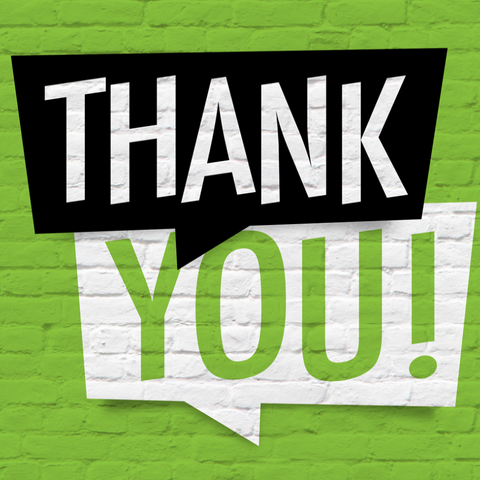 """Thank You!"" Text on a Green Wall with Chat Bubbles Painted in Black and White"