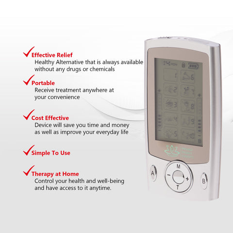 Mini TENS Unit - Muscle Stimulator - 2 Channels | 10 Modes | 20 Intensity Levels