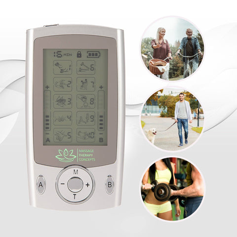 Image of electrotherapy, TENS Unit, electrode pads, mini e stim machine