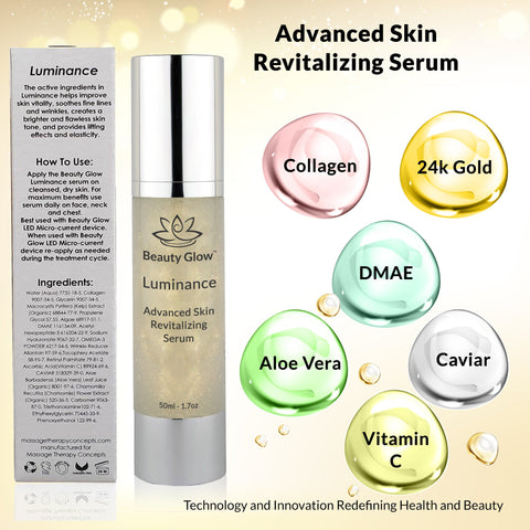 Luminance - Advanced Skin Revitalizing Serum with Collagen, Caviar, Vitamin C, Kelp, Omega 3, DMAE and Aloe Vera, Hyaluronic Acid - Massage Therapy Concepts