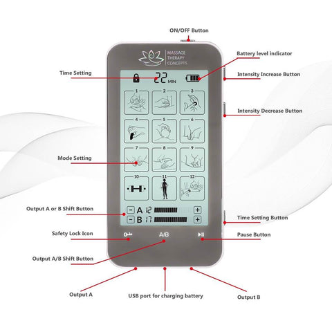 Image of Verve TENS Unit and EMS Muscle Stimulator | 2 Channels | 12 Modes - Massage Therapy Concepts