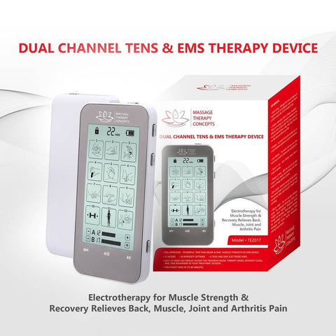 Verve TENS Unit and EMS Muscle Stimulator | 2 Channels | 12 Modes - Massage Therapy Concepts