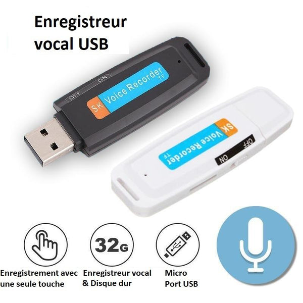 Enregistreur vocal USB Raton Malin Noir 32 GB