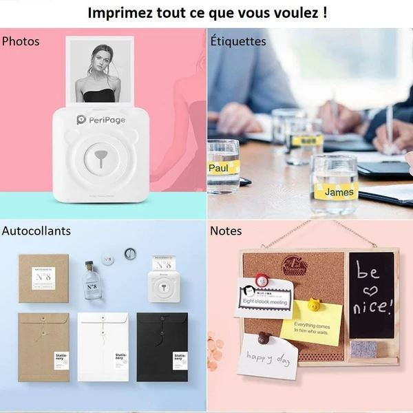 Imprimante Bluetooth Portable Flash Ventes Blanc + 6 rouleaux de papier