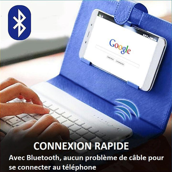Clavier Sans Fil Bluetooth Avec Housse De Protection Raton Malin Rouge